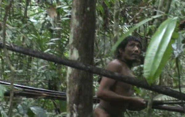 Uma equipe do governo brasileiro filmou os Kawahiva durante um raro encontro na Amazônia em 2011, provando a sua existência © FUNAI