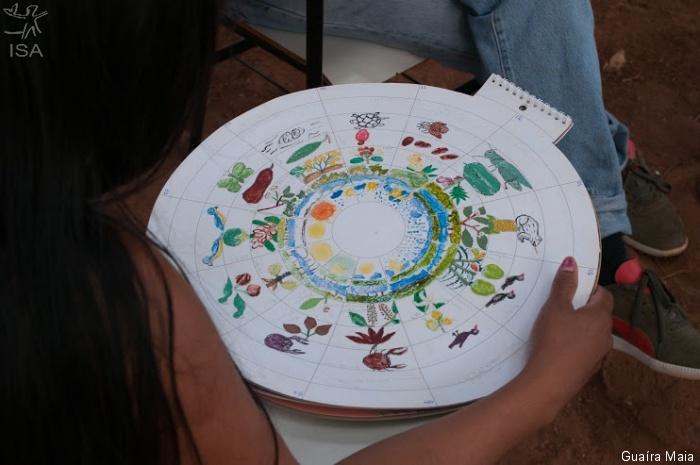 Calendário feito por Katuma Ewoera mostra os ciclos da natureza  Guaíra Maia