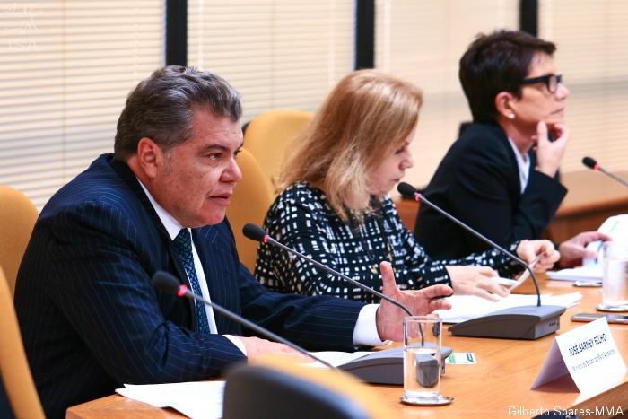 Ministro Sarney Filho, Sandra Cureau e Deborah Duprat durante audiência pública|Gilberto Soares-MMA