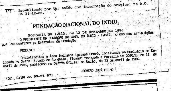 Resolução de Romero Jucá em 1986, publicada no Diário Oficial